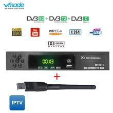 Vmade DVB-T2 S2 DVB-C 3 in 1 Combo HD Digital Terrestrial Satellite Receiver USB
