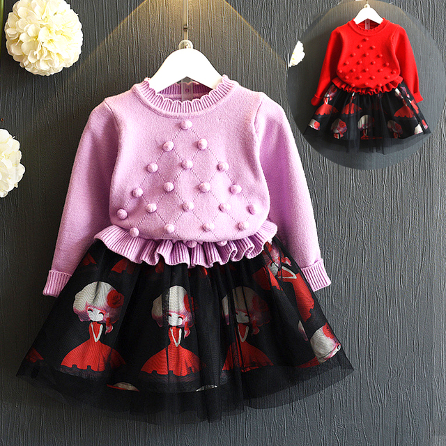9d9e378a1a7 Toddler Girls Sweater Dress Knitted Pullovers Sweaters with Lace Shrugs  Dresses Crochet Autumn Winter clothing