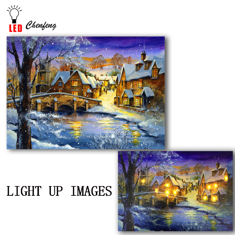 Christmas Led Canvas.Us 14 59 27 Off Lighted Canvas Printing Led Canvas Wall Art Decorative Winter In Village Christmas Scene Painting On Canvas Holiday Gift Cheap In