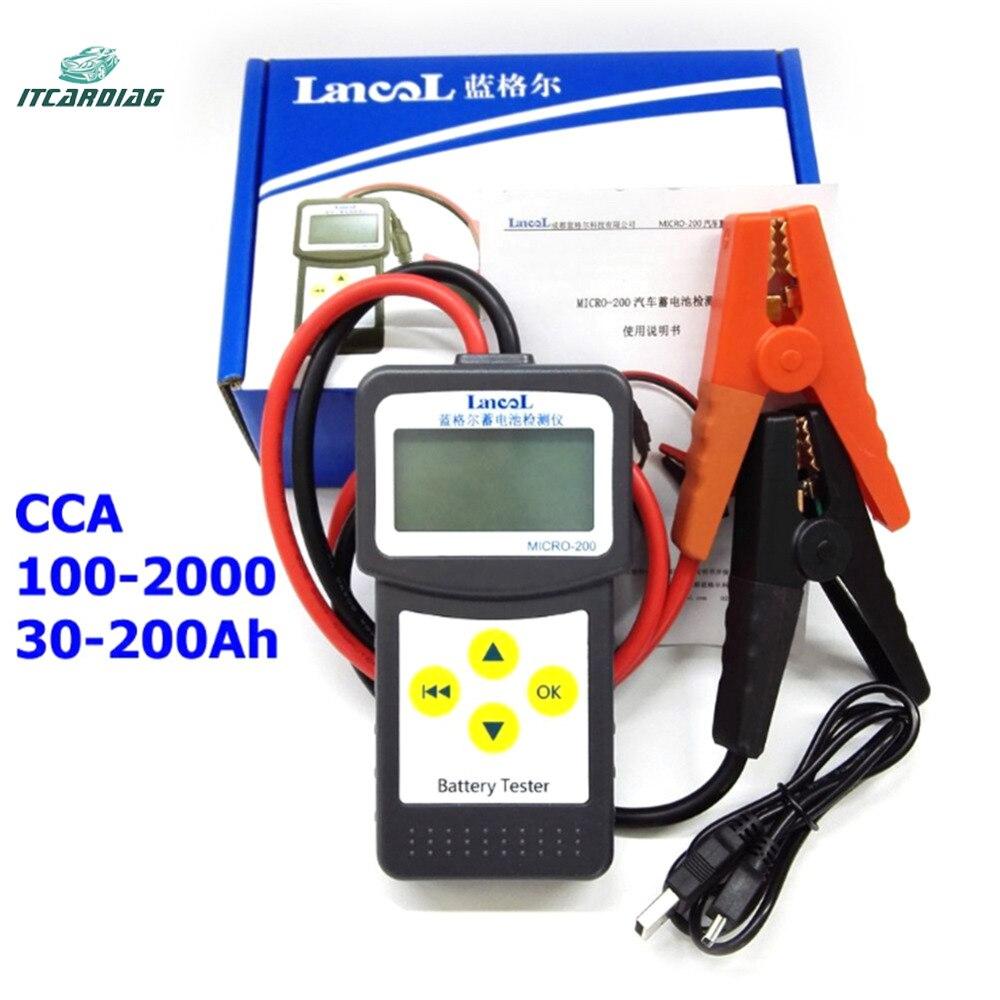 MICRO-200 testeur de batterie automatique 12v 100-2000CCA 30-200Ah outil de Diagnostic de batterie automobile pour toutes les batteries de démarrage au plomb-acide de voiture