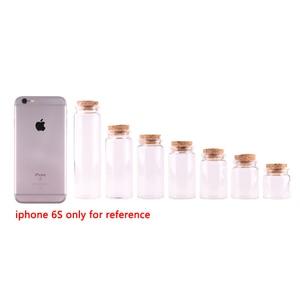 Image 2 - 24pcs Dia 37mm 20ml/30ml/40ml/50ml/60ml/90ml Transparent Glass Spice Wishing Bottles Jars with Cork Stopper Wedding Favour Gift