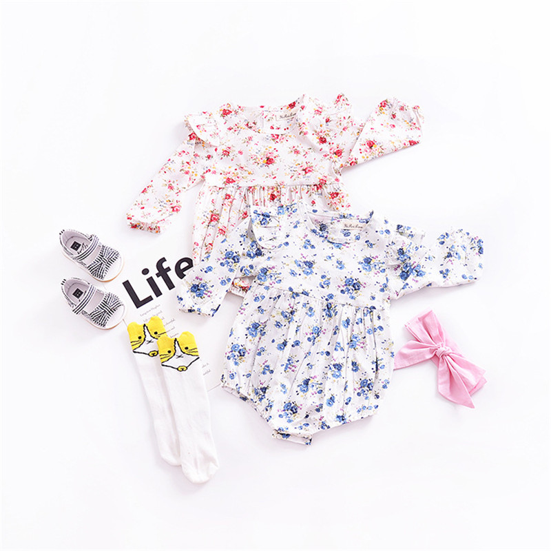 Toddler Baby Girls Bodysuits RufflesFloral Jumpsuit Long Sleeve Infant Girl Bodysuit 2018 Spring Kids Costumes for Baby Clothing