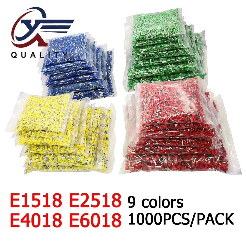 1000pcs/Pack E1518 E2518 E4018 E6018 Insulated Ferrules Terminal Block Cord End Wire Connector Electrical Crimp Terminator