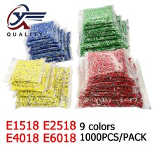 цена на 1000pcs/Pack E1518 E2518 E4018 E6018 Insulated Ferrules Terminal Block Cord End Wire Connector Electrical Crimp Terminator