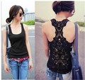 Best selling Korea Women's Tank Pierced lace Top Shirt  Hollow-out sexy Vest  Waistcoat Camisole  Free shipping