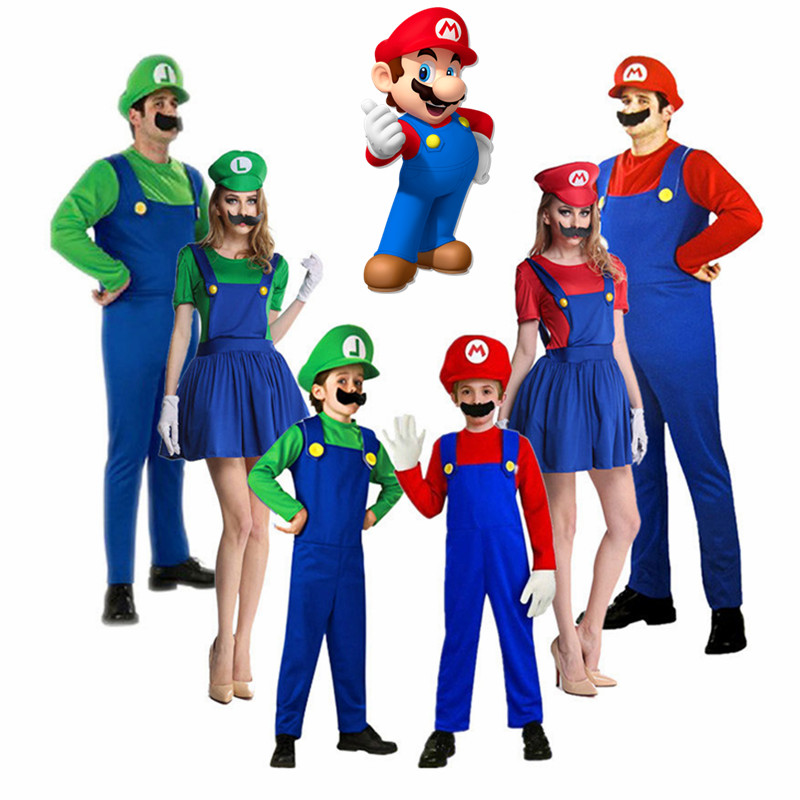 Adults Funy Super Mario Luigi Brothers Plumber Cosplay Costume For Men Boys girls Halloween Fancy Dress Carnival Party Costumes