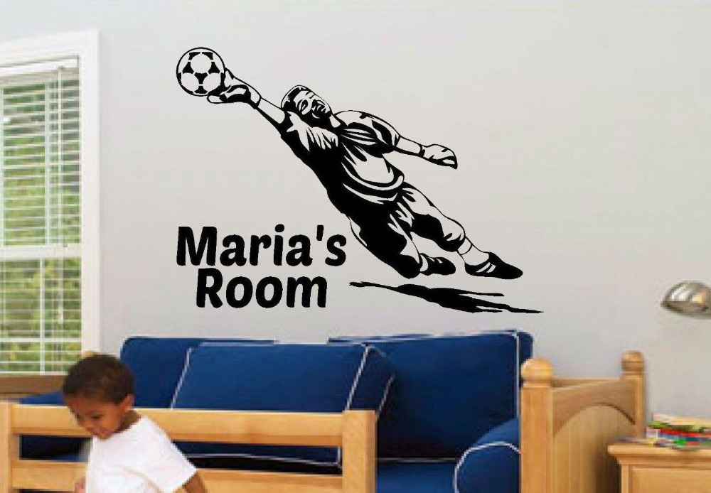 Soccer Player Personalized Sports Bedroom Nursery Kids Wall Decor Decal Custom