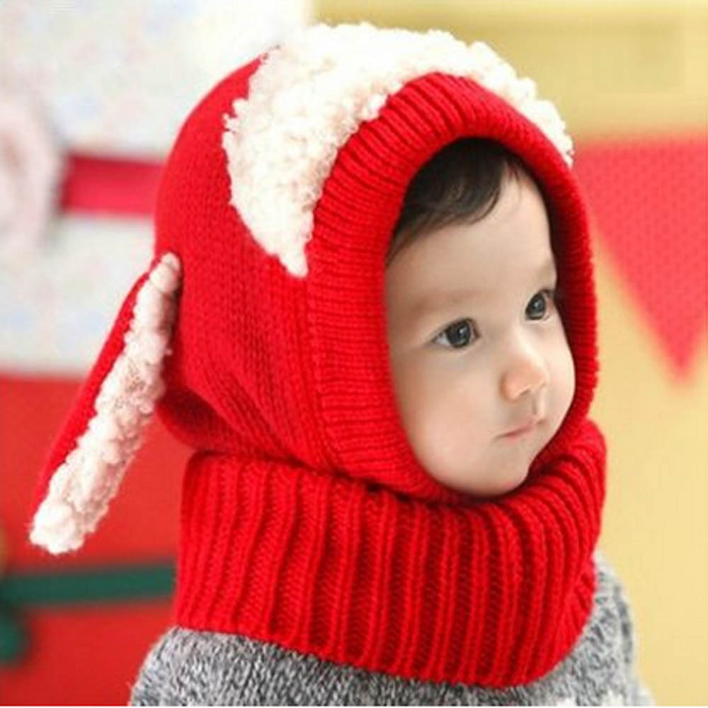 cb7400563d0 Siamese Puppy Scarf Winter New Baby Hat Wool Hat Winter Hat Hot Sale Beanie  Hat Hooded Scarf Earflap Knit Cap Toddler Cute-in Hats   Caps from Mother    Kids ...