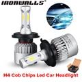 Ironwalls 2Pcs/Sets H4 Led Car Headlight Bulbs COB Chips 72W 6500K 8000Lm High Low Beam For Land Rover Honda Toyota