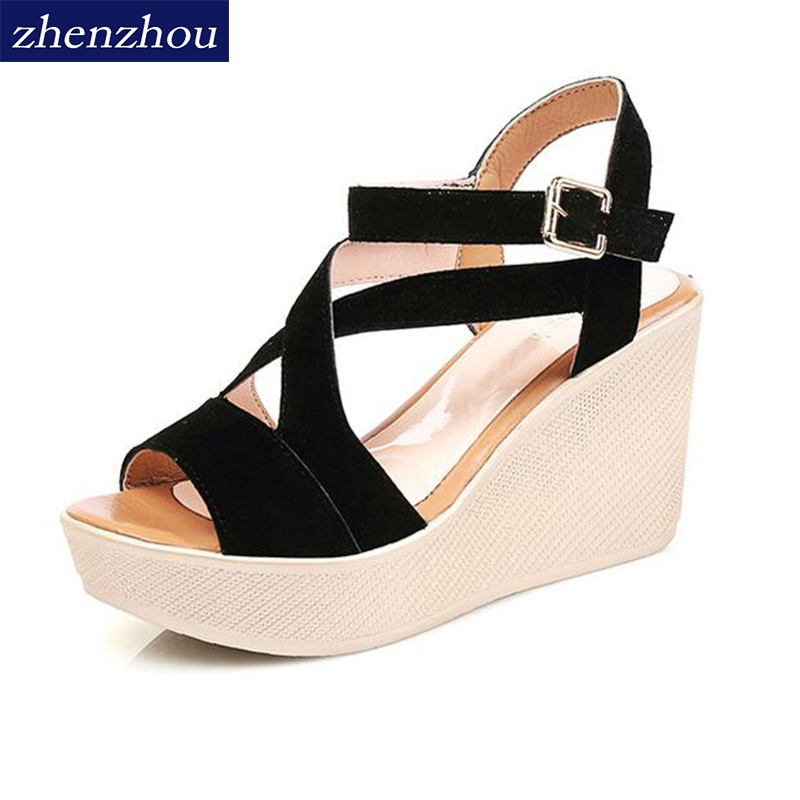 ZHENZHOU women Sandals 2018 summer wedge High heels Sponge bottom of the thick Waterproof platform for student womens shoes