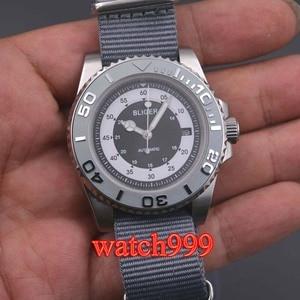Image 2 - 40mm bliger grijze wijzerplaat keramische bezel datum saffierglas Lichtgevende Effen case Nylon strap mechanische automatische mannen horloge