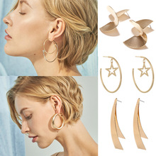 Fashion Creative Simple Temperament Earrings Personality Tide Mix Geometric Metal