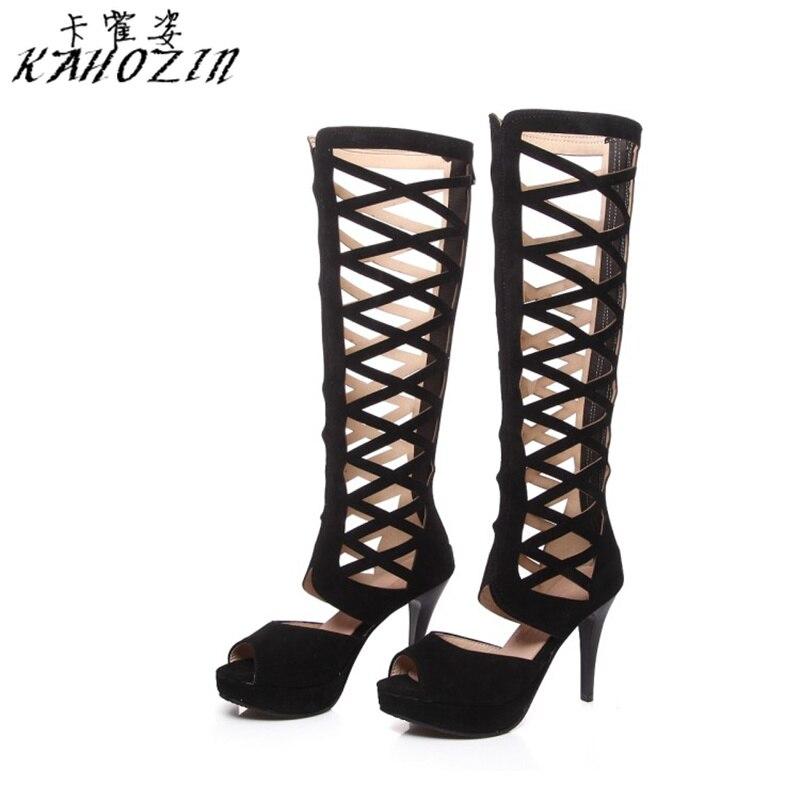 Été Femmes Fenty Beauté Taille Chaussures Plate Noir Ajouré Conception Grande Printemps forme Bottes Femme 2019 Collocation Sexy Ete He9b2YWEDI