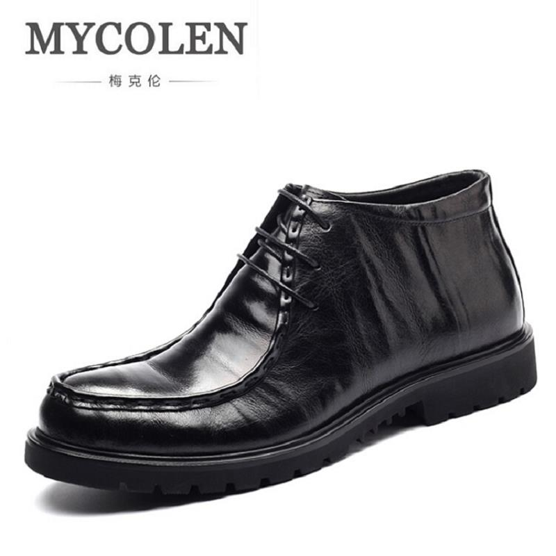 MYCOLEN Fashion Plus Velvet Men Boots Genuine Leather Quality Brand Snow Winter Boots Lace-Up Autumn Ankle Men Shoes zapatos