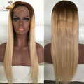 Ombre Human Hair Lace Front Wig High  Density Blond Ombre Lace Wig Three Tone Ombre Full Lace Wigs With Dark Roots Blond Hair
