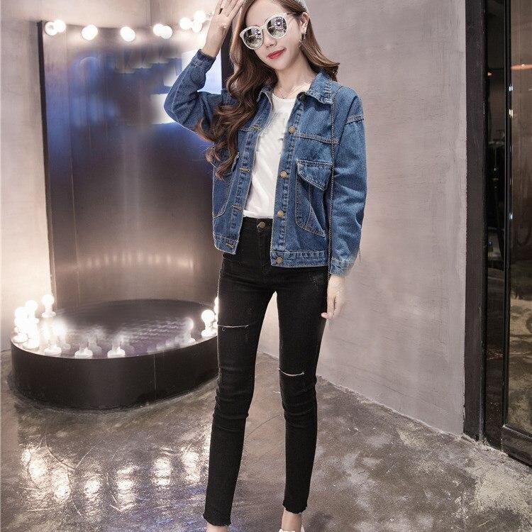 Autumn Women Vintage   Basic     Jacket   Long Sleeve Loose Jeans   Jacket   Coat Turn-Down Collar Casual Girls Outwear Denim   Jacket