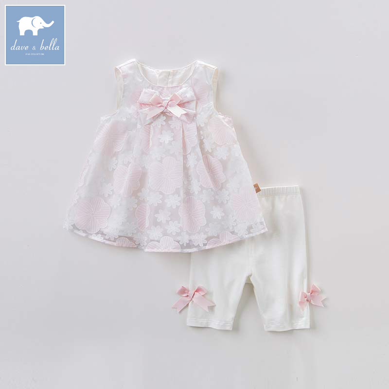 DB6942 dave bella summer baby floral lovely suits children high quality big bows costumes infant toddler girls clothing sets db7191 dave bella summer baby girls newborn infant toddler jumpsuits children short sleeve printing clothing baby romper