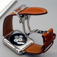 Ремешок из натуральной кожи для наручных часов, браслет из натуральной кожи для Apple Watch Series 1 2 3 iWatch, 4 5 40 44 мм