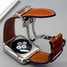 Horloge Armband Voor Apple Horloge Seires 4 5 40 44Mm Lederen Band Voor Herm Apple Horloge Band serie 1 2 3 Iwatch Horlogebanden