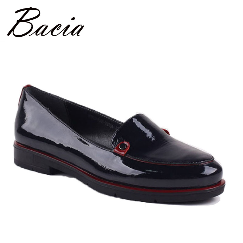 Bacia 2016 Spring Women Flats Shoes Women Genuine Leather Shoes Woman Handmade loafers slip on Rubber soles Flats shoes VB064 2018 new genuine leather flat shoes woman ballet flats loafers cowhide flexible spring casual shoes women flats women shoes k726