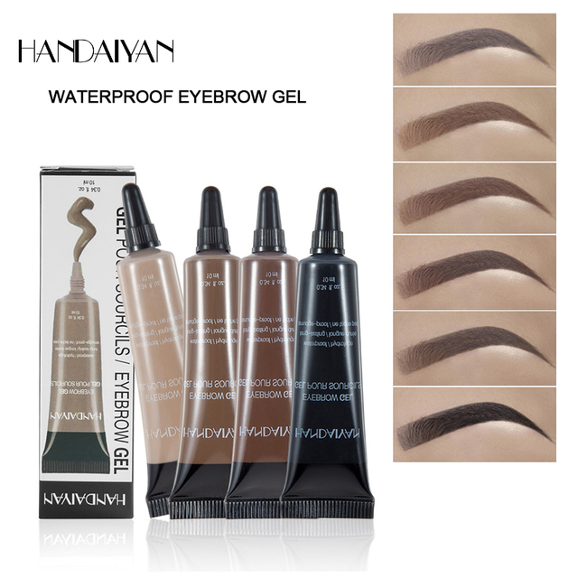 HANDANYAN Eyebrow Enhancer Makeup Henna Eyebrow Gel 6 Color Black Brown Waterproof Liquid Eye Brow Tint Brush Sets