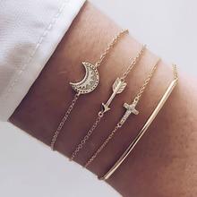 4 Pcs/Set Handmade Gold Moon Crystal Cross Arrow Charm Bracelet Bangles for Women Love Heart Triangle Gold Bracelet Jewelry Gift недорого