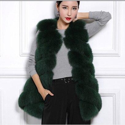Pele Colete Gilet V654 D'hiver Manteaux Femme Moelleux Faux Fluffy 2018 De Fourrure Femmes Renard Luxe Mince Longue a6wxYZR