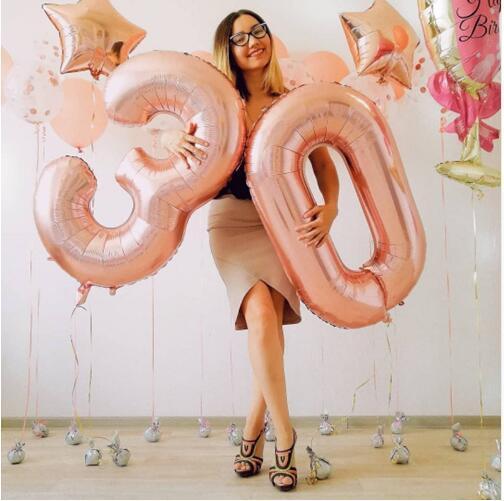 2 шт. 40 дюймов 32 дюймов Роза цвета: золотистый, серебристый розовый номер шар 30th лет День рождения Декор гелий надувные Globos номер шары