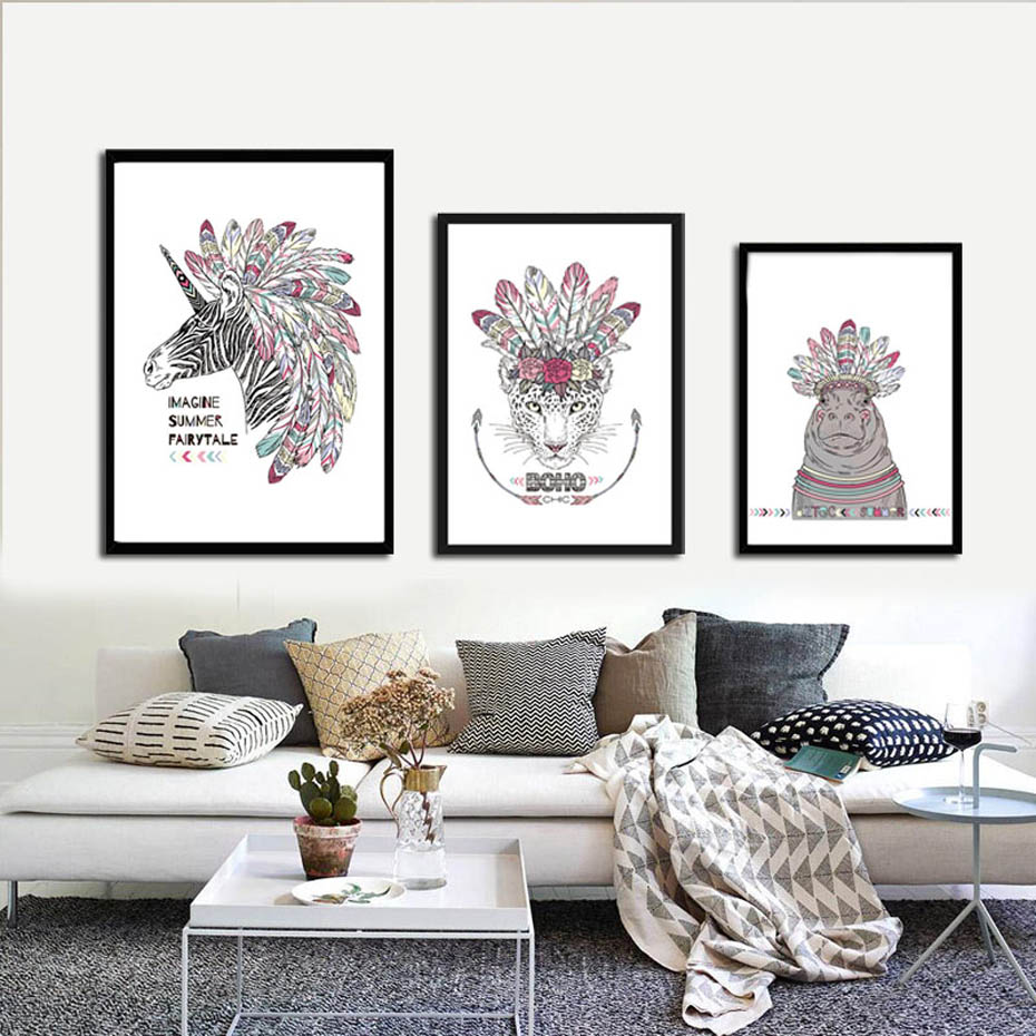 Nordic Watercolor Indian Canvas Poster Print Nursery Horse Leopard Rhinoceros Painting Kids Room Wall Picture