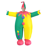 Adult Clown Inflatable Costume Funny Fat Clown Fancy Dress Joker Jumpsuit Carnival Party Halloween Christmas Costumes