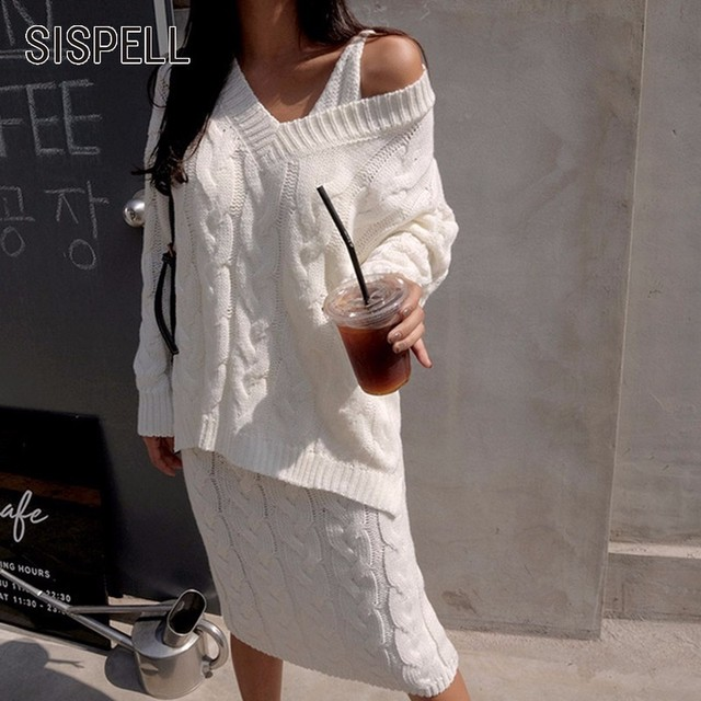 Sispell Knitted Dress Suit Women Autumn Suspender Packet Hip Dresses