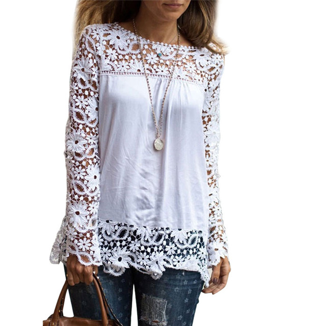 da0d58cd692 Patchwork White Lace Summer Tops For Women 2018 Plus Size Formal Blouses  Femme 4XL 5XL Long Sleeve Ladies Oversize Office Shirts