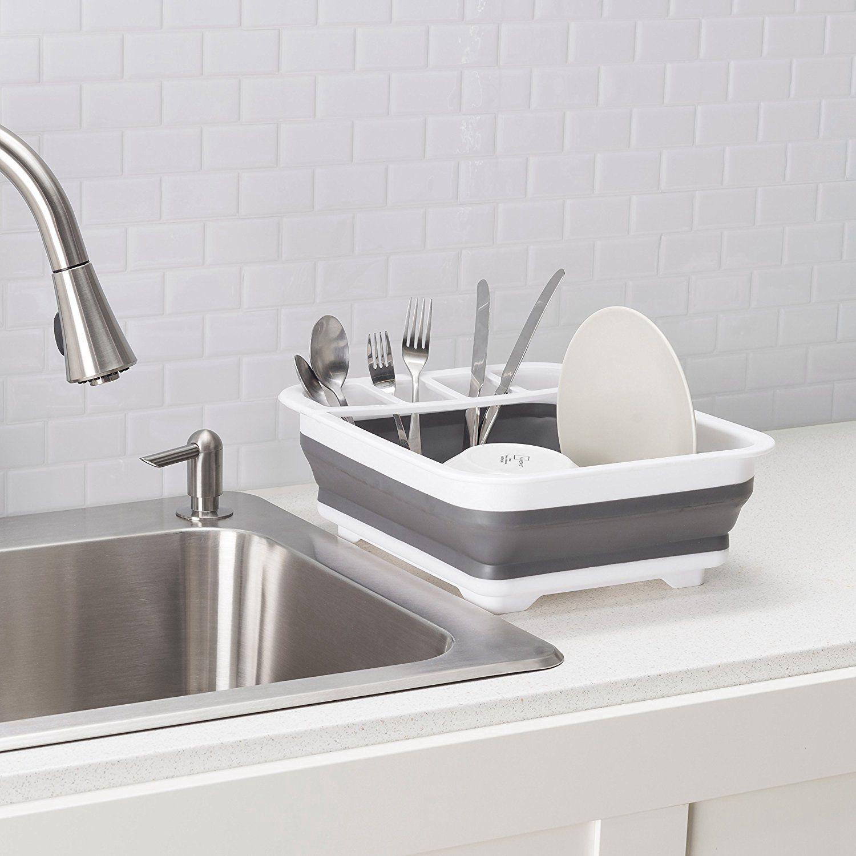 Легкая Складная стойка для посуды и сушилка с держателем для столовых приборов