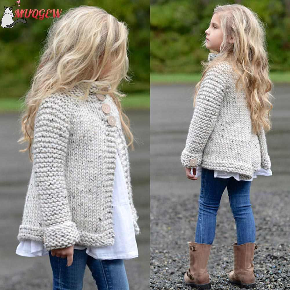 Cute girls autumn winter coat Toddler Kids Baby Girls Outfit Clothes Button Knitted Sweater Cardigan Coat Tops casaco infantil