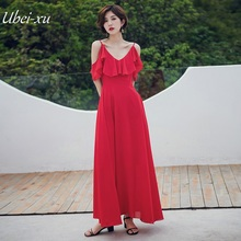 Ubei V-neck summer dress pure color red chiffion long slip ruffles holiday fahion 4Colors Dress