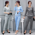 2016 Autumn winter women's large size new leisure Plaid shirt+pants suit female office luxur two piece pants sets with crop top