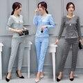 2016 mujeres del invierno del Otoño de gran tamaño nuevo ocio camisa A Cuadros + pantalones luxur oficina traje femenino de dos piezas pantalones conjuntos con cultivos top