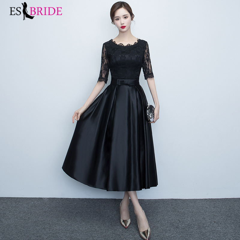 2019 Elegant New Fashion Women Vintage Elegant   Evening     Dresses   Sexy Lace Round Collar Short Sleeve Long   Evening     Dress   ES1213