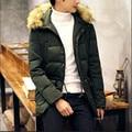 Plus Size Homens Parka Inverno Cor Sólida Gola De Pele Com Capuz Jaquetas E Casacos de inverno Masculino Solto Moda Homens Casacos de Inverno A2696