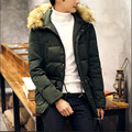 Plus Size Men Winter Parka Solid Color Fur Collar Hooded Winter Male Jackets And Coats Loose Fashion Men'S Winter Jackets A2696