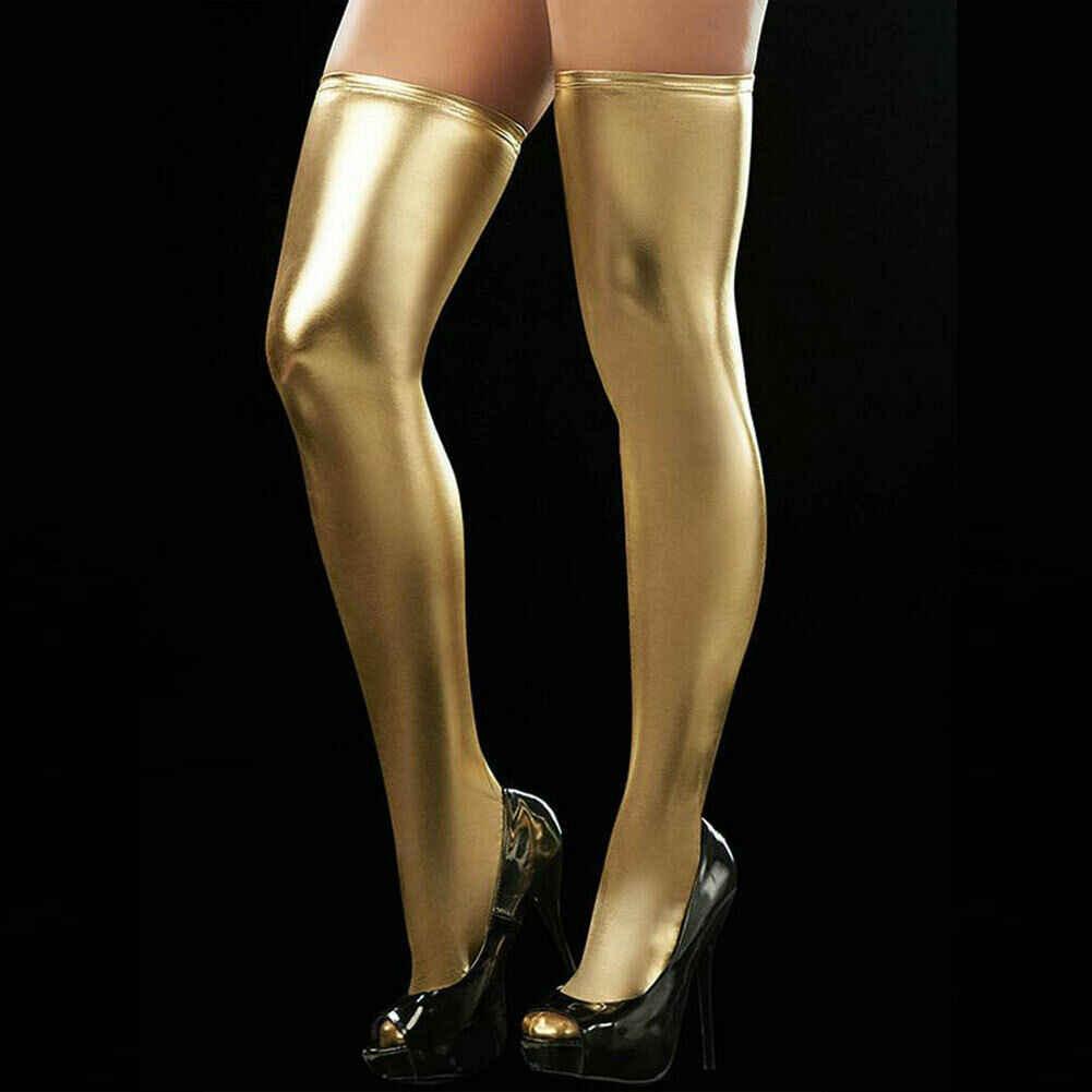 ผู้หญิงน้ำมัน Shine เซ็กซี่เซ็กซี่ถุงน่องต้นขาสูงความยาวเป้า Pantyhose Faux หนังถุงน่องสำหรับหญิง