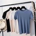 BYGOUBY трикотажная Летняя женская футболка с круглым вырезом и короткими рукавами, футболка, топ, высокая эластичность, женская футболка - фото