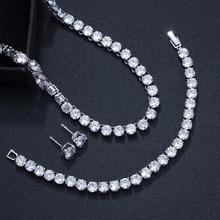 CWWZircons colliers ras du cou, boucles doreilles et Bracelet de luxe pour femmes, en zircone cubique, ensembles de bijoux T062