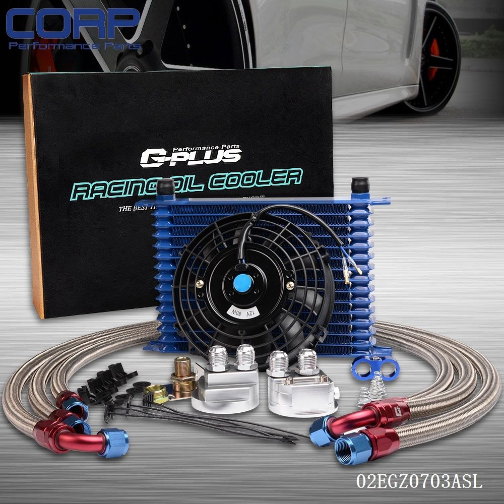 15Row 10AN Universal Engine Oil Cooler + Filter Relocation Kit + Electric Fan BL pqy racing universal 30 row an10 engine transmiss oil cooler kit filter relocation blue page 4