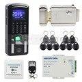 DIYSECUR Lector de Huella Digital 125 KHz RFID Teclado de Contraseña + Cerradura Eléctrica Puerta Kit Sistema de Control de Acceso para la Oficina/Casa