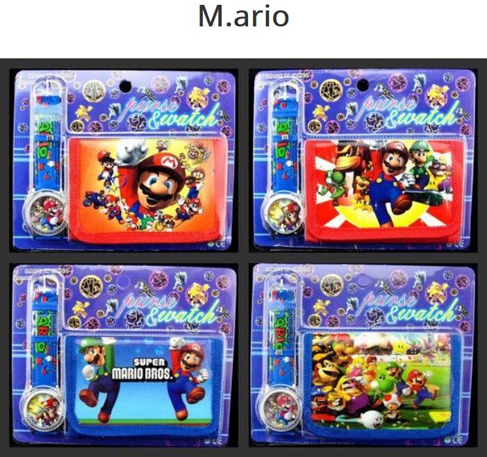 Wholesale  12Sets Super Mario  Wristwatch Watch And Purses Wallets Party Favors  A16