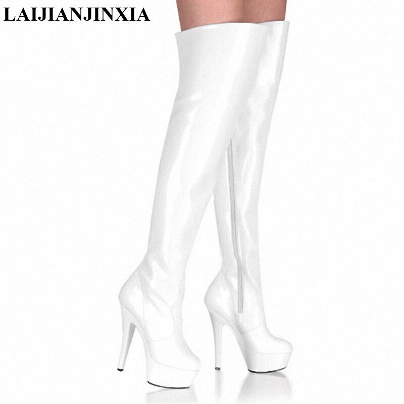 8a9b2e8be2ea92 Fétiche Noir Sexy Laijianjinxia D'hiver Chaussures Genou Chaussure Mat Botte  Plate Les Sur Pointu forme Bottes Haut Cuisse Pu Au Talon blanc Femme RSq0YR