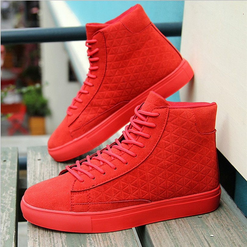 Aliexpress.com : Buy Solid Red Mens High Top Casual Shoes Plaid ...