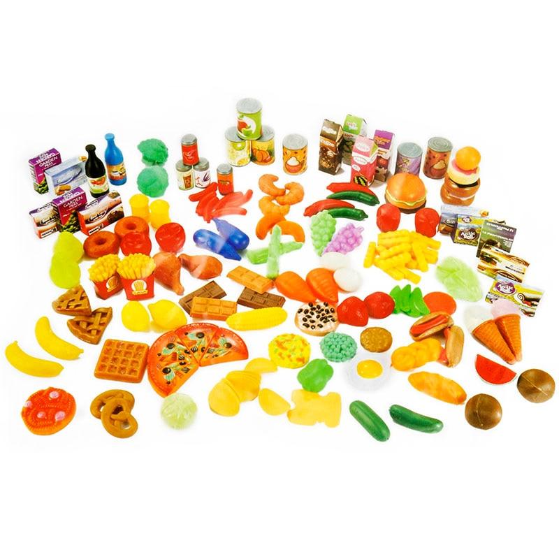 120pcs/Set Simulation Food Fruit Vegetable Seasoning Pretend Play Toys Educational Kid Kitchen Fun Dollhouse Miniature Toy DM012