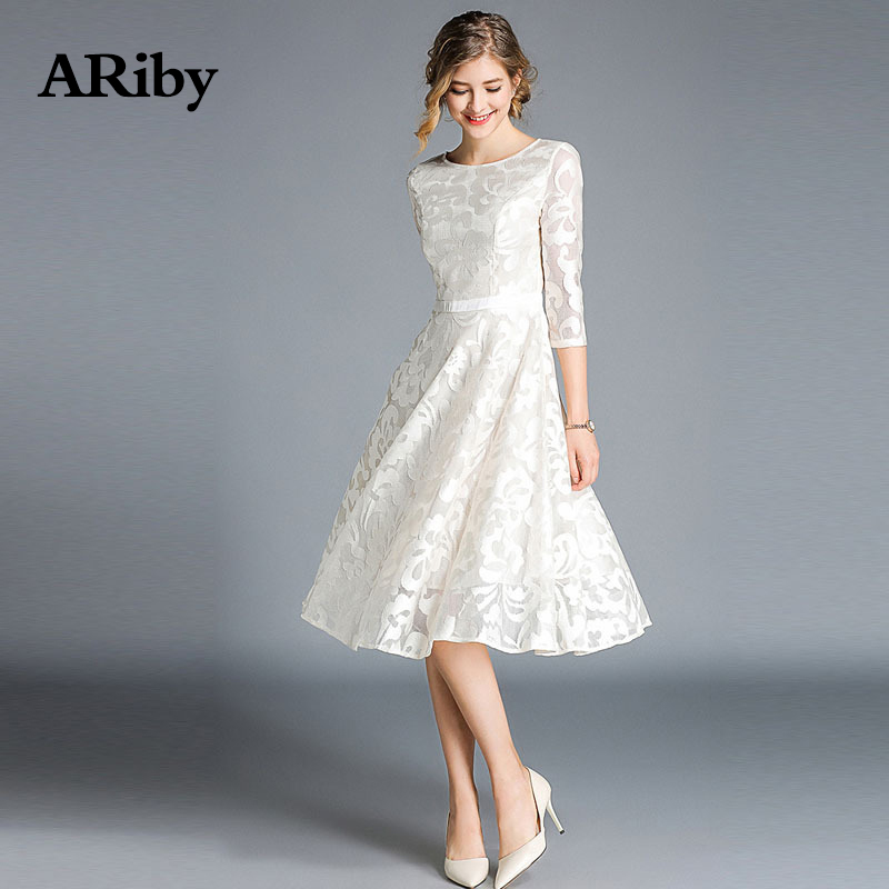 Women Dress Summer Lace Club Dress ARiby 2019 Fashion Office Lady A Line Solid Embroidery Empire Round Collar Knee Length Dress in Dresses from Women 39 s Clothing